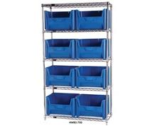 CHROME WIRE SHELVING UNITS WITH GIANT HOPPER BINS